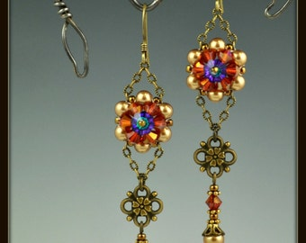 Beaded, Beadwoven, Beadwork, Swarovski Crystal Flower Earrings