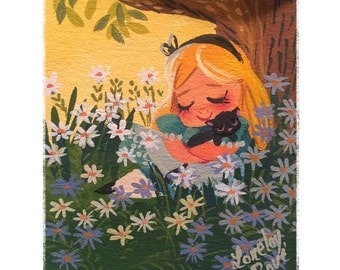 Alice and Flowers - Print