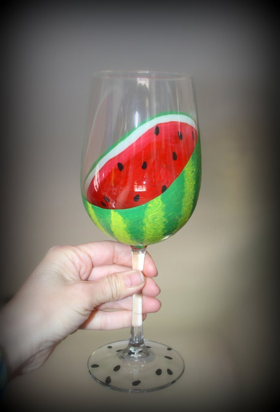 Watermelon Hand Painted Wine Glass Sliced Open Fruit Summer