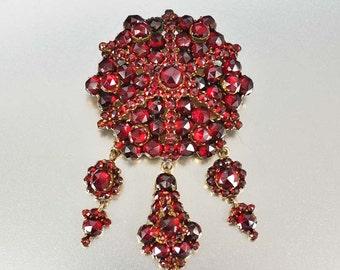 Victorian Bohemian Garnet Necklace Pendant Brooch, Antique Jewelry, Chandelier Brooch Pin, Garnet Pendant, Garnet Brooch, Victorian Jewelry