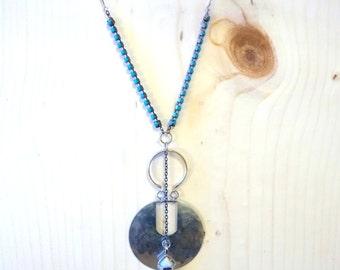 milky crystal unisex art deco necklace