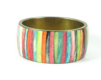 Wide Bone Brass Colorful Stripe Bangle Bracelet - Tribal Boho Hippie Bracelet - Vintage Jewelry