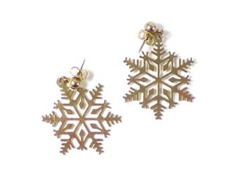 Snowflake Earrings - Gold Snowflake - Christmas Earrings - Dangle Earrings - Vintage Earrings - Holiday Gift Idea