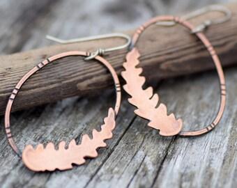 Copper Earrings, Large Hoops with Handcut Ferns, Botanical Jewelry, Rustic Boho Earrings, Oxidized Copper Bohemian Jewelry by Erin Austin