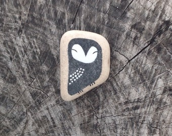 Dark Blue Beach Pottery Tile Owl