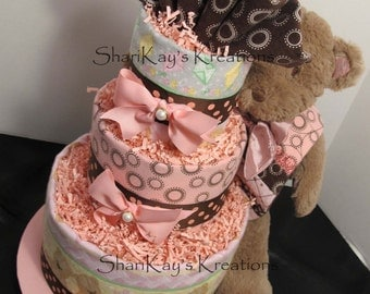 SALE - Diaper Cake, Girls, Bear, 3 Tier, Pink and Brown, Baby Shower, Centerpiece, Gift