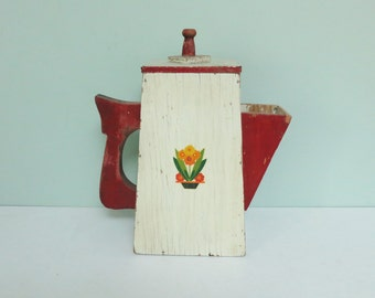 Handmade Soap Powder Dispenser Pitcher, Rare 1940s Wooden Primitive Teapot / Coffee Pot Shaped, Flower Pot Decal, Painted Red & White