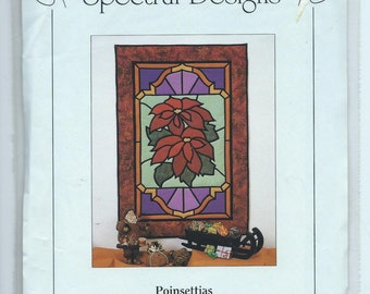 SALE 20% OFF - Spectral Designs #602 Poinsettias Fabric Stained Glass Instructions - Uncut Vintage Pattern