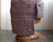 Furry Russian XL: warm winter trapper style hat in pink and gray wool tweed