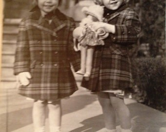 Two Little Girls Dressed in Plaid 1940's Large Original Photograph