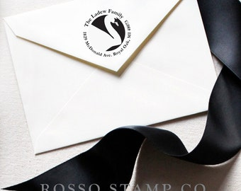 Address Stamp - Swan Stamp - Custom Stamp - Return Address Stamp - Swan Address Stamp - Personalized Address Stamp