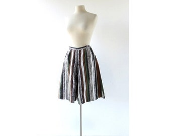 Vintage 1950s Culottes / Striped Skort / Gaucho Pants / 24W