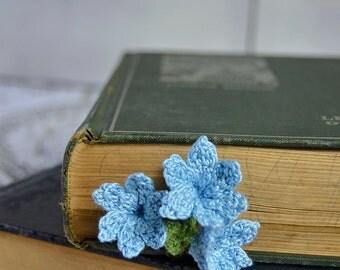 Handmade Bookmark Crochet Flower Bookmark Light Blue Bluebells Cotton Flower Cotton Bookmark