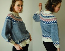 Chunky Wool Sweater Vintage Chunky Fair Isle Knit Nordic Scandinavian Preppy Wool Sweater (s m)