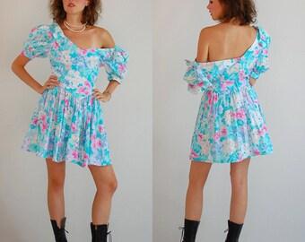 Floral Drop Waist Vintage 80s Pastel Floral Indie Boho Drop Waist Mini Dress (s m)