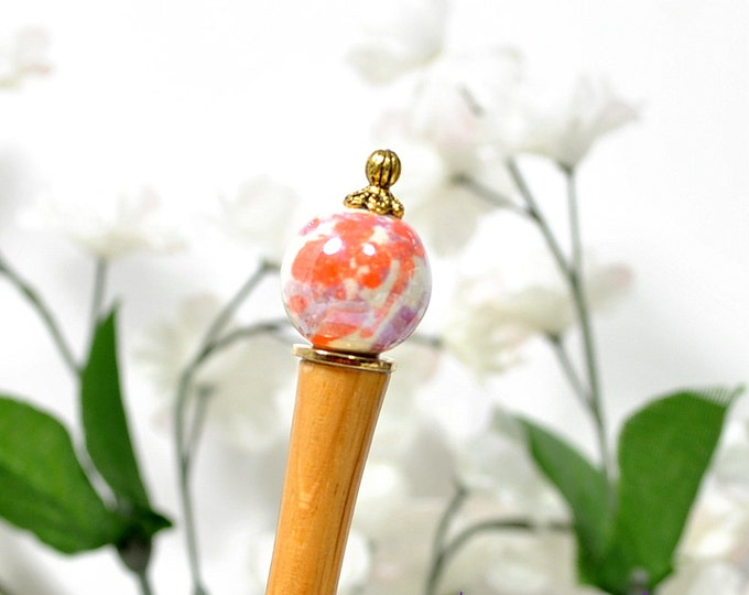 "Hairstick Orange Hair Chopstick 5 inch Bun Pin for Messy Hair Bun Chinese Hair Pin Hair Stick - ""Aurora"""