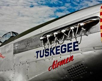 Tuskegee Airmen North American P-51 Airplane Close-Up Fine Art Print - Military, War, Veteran, Soldier, Flight, Pilot, Wings, Aviation, Fly
