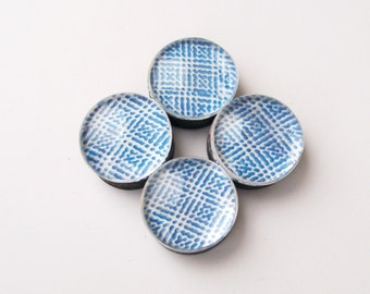 Mediterranean Blue & White Glass Bubble Marble Magnets - Set of 4 - Home Office School Decor