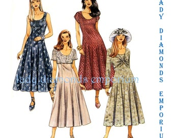 McCalls 6964 Womens Fitted & Flared Dress w Overlay + Attached Bolero Options size 8 10 12 Bust 32.5 - 34 Vintage Sewing Pattern Uncut