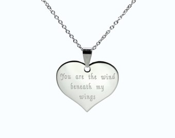 Engraved Necklace - Personalized Necklace - Engraved Heart - Stainless Steel Necklace - Heart Necklace - Silver Heart Necklace