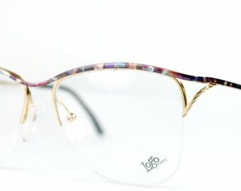 Semi-rimless Golden Metal Wire Eyeglasses Frames Multi-color Optical Wire Frame France Logo Paris