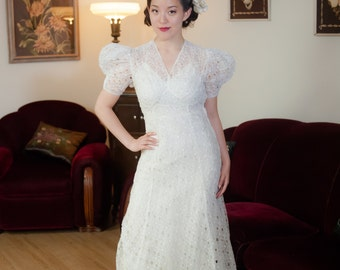 1930s Vintage Bridal Gown - Dreamy Sheer Cut Work Cotton Voile Eyelet Lace 30s Wedding Dress with Dramatic Puffed Sleeves