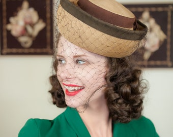 Vintage 1940s Hat  - Classic Straw Topper with Upturned Brim and Wide Netted Veil