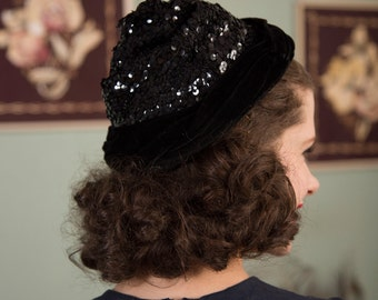 Vintage 1950s Hat - Sparkly Black Sequined Turban Style 50s Cocktail Hat with Twisted Velvet Band