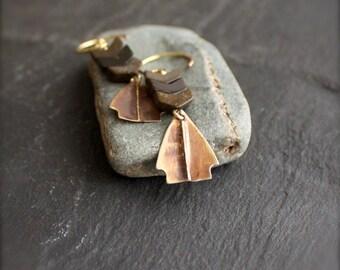 Jasper Chevron, Brass Arrowhead Earrings - Brown Brass Charm, Stacked Stone, Boho Chic, Bohemian Festival Jewellery