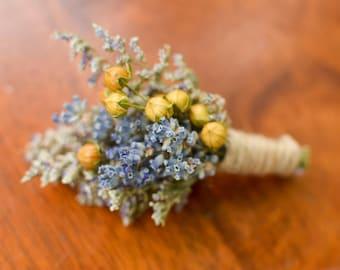 Lavender meadow boutonniere, lavender boutonniere, yellow, summer boutonniere, fall boutonniere, rustic wedding, summer wedding, wildflowers