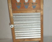 Vintage Washboard Cupboard - Wooden Washboard Cabinet - Laundry Room Decor - Laundry Room Shelf - Metal Washboard - 2 Shelf Cabinet