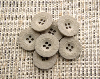Matte Grey Buttons 22mm - 7/8 inch Warm Taupe Gray Plastic Sewing Buttons - 7 VTG NOS Neutral Faux Stone Grey Sew Through Buttons PL172 bb