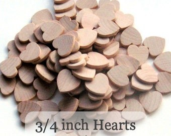 Unfinished Wooden Hearts - .75 inch - Pack of 50