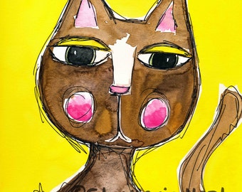 Coconut the Cat by Stephanie Hart, Archival print Watercolor Illustration 8x10, Cat Art
