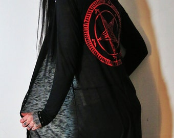 Hell Couture Black & Red Pentagram Studded Midi Hoodie