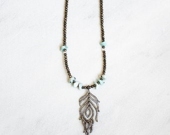 Diamond Feather Aquamarine Boho Necklace / Long Necklace, Bohochic Jewelry, Diamond Pave, Larimar, Pyrite, Fools Gold, Bohemian, Gypsy