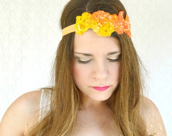 Boho Hair Accessories Lace Headband Adult Great Gatsby Headband Flower Crown Unique Headband Bohemian Clothing Boho Headband Unique orange