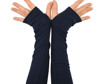Arm Warmers in Midnight Navy Blue - Fingerless Gloves - Sleeves - LAST PAIR