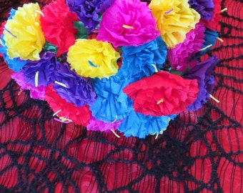 Sale --25 Colorful  Multi colored  Paper Carnation Flower Bouquet - Perfect for a gift or to add to your Day of the Dead altar