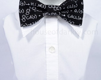 Geeky clip-on bow tie: chemical formula print for chemistry and science nerds (for adults or kids)