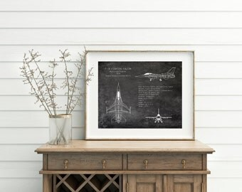 "16 x 20"" F-16 Fighting Falcon airplane blueprint, aviation decor, airplane art, military aircraft, veteran gift, pilot gift, gifts for him"