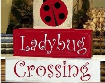 Primitive Shabby Shelf Blocks Lady Bug Crossing 3 Wooden Blocks