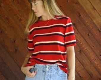 Red Striped s/s Rib Crew Neck Sweater - Vtg 50s 60s - S/M