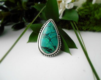 Chrysocolla ring, sterling silver, cocktail ring, huge ring, boho ring, gypsy ring, size , teardrop shaped ring, ready to ship
