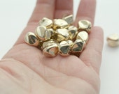 Gold Acrylic Beads Pinched Nugget Baroque 12mm (20)