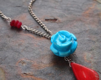 Turquoise Rose and Coral Necklace