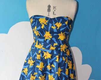 blue pikachu - pokemon sweet heart dress - all sizes