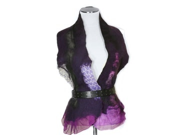 Purple Scarf Handmade Super Soft Merino Wool Mixed With Silk - Nuno Felt Technique - Unique One Of a Kind Wide - READY TO SHIP