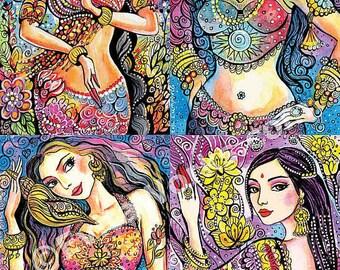Mermaid art, Kuan Yin, Kali, Soul of India, Karishma, Goddess art, Indian decor, giclee, large painting woman, mermaid painting, 15x23+