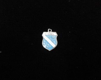 Kassel, Germany Town Coat of Arms- Travel Shield Charm, 800 Silver Pendant, Vintage Enamel Charm, Sterling Silver Charm Cassel